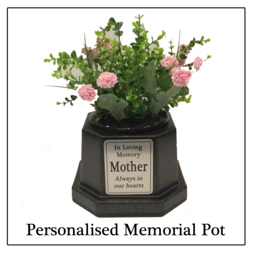Personalised Memorial Vase Pot For Grave Headstone Blacksilver Any
