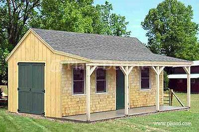 12/' X 20/' construction Chalet Cabane avec porche plans matériel liste comprenait #81220