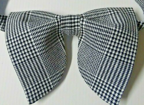 Oversized Black//White Houndstooth Bow tie Vintage style 70s Wedding Prom Gift