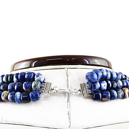 785.00 Cts Natural 3 Strand Untreated Blue Sodalite Round Shape Beads Necklace