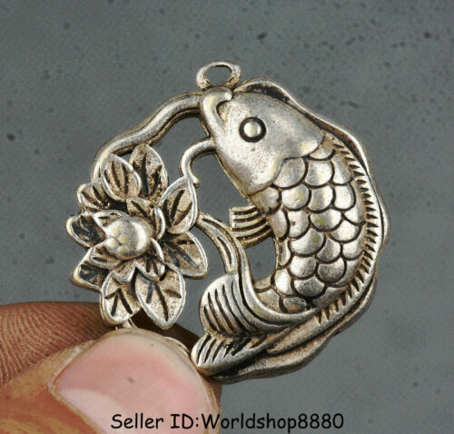 """1.4/"""" Old Chinese Silver Feng Shui Lotus Flower Year Fish auspicious Pendant"""