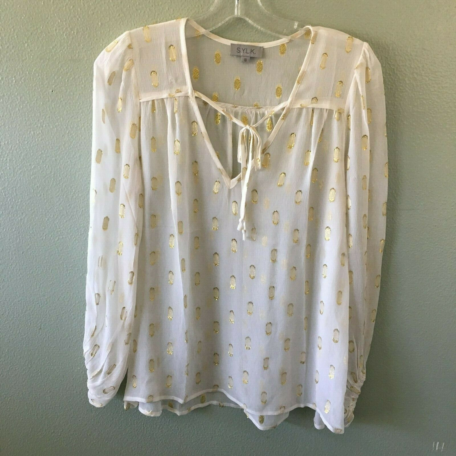 S.y.l.k. top S ivory Gold sheer silk ali blouse - Größe small