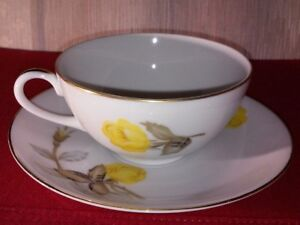 Vintage-Cotillion-Yellow-Rose-China-By-Sango-Japan-Teacup-and-Saucer