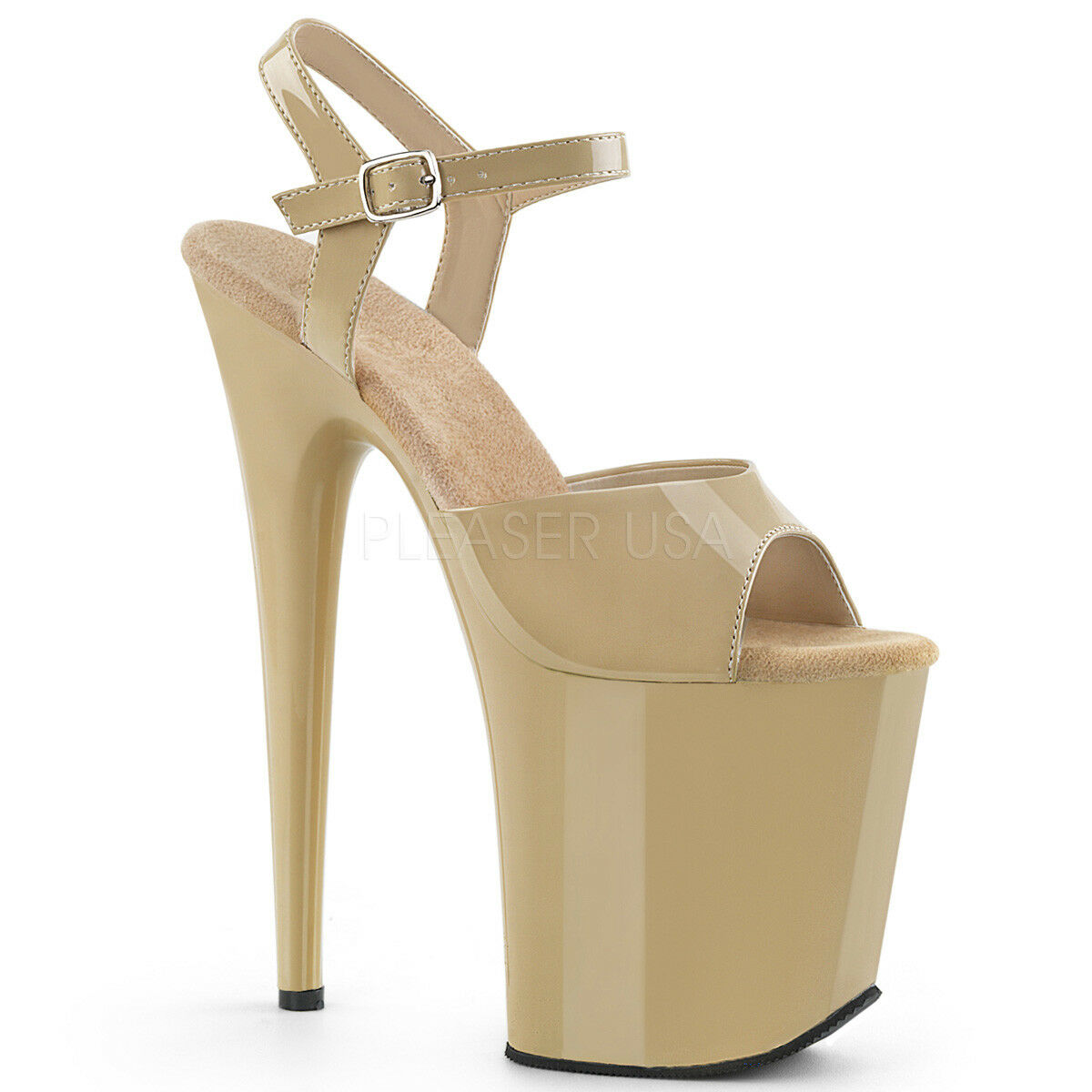 Pleaser FLAMINGO-809 Women's Cream Patent High Heel Platform Ankle Strap Sandals