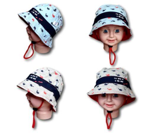 Baby Toddler Boys Summer 100/%Cotton Beach Bucket Hat Cap Chin Strap Size 2-6m