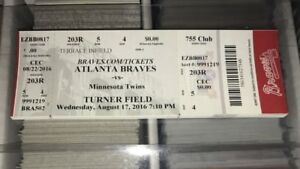 Dansby Swanson Debut Ticket Stub 8/17/16 Atlanta Braves Minnesota Twins
