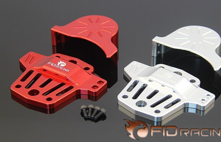 Losi 5IVE T Center differential brace V2 and gear cover kit sliver red color