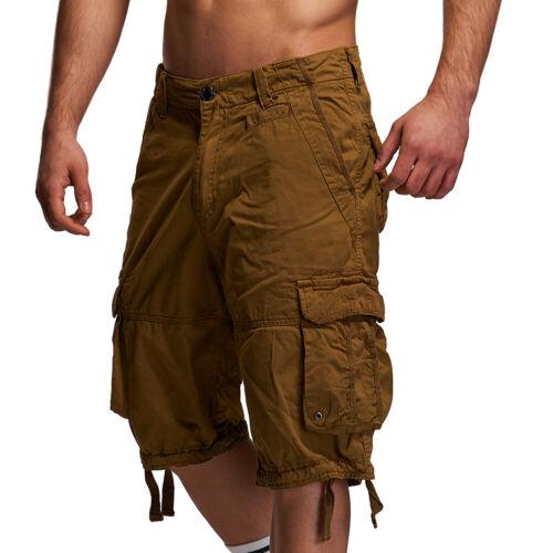 Behype Uomo Cargo Shorts Jeans-Bermuda Pantaloni Corti Navy//Nero//Beige 20801 NUOVO
