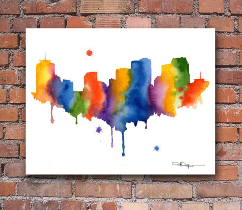 New Orleans Skyline Abstract Watercolor Painting Art Print by Artist DJ Rogers