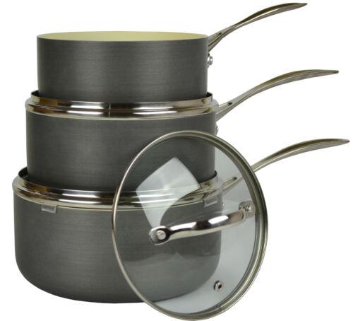 Ensemble batterie de cuisine poignée en acier inoxydable couvercle en verre de sauce pan casserole ANTI-ADHERENTE nouveau