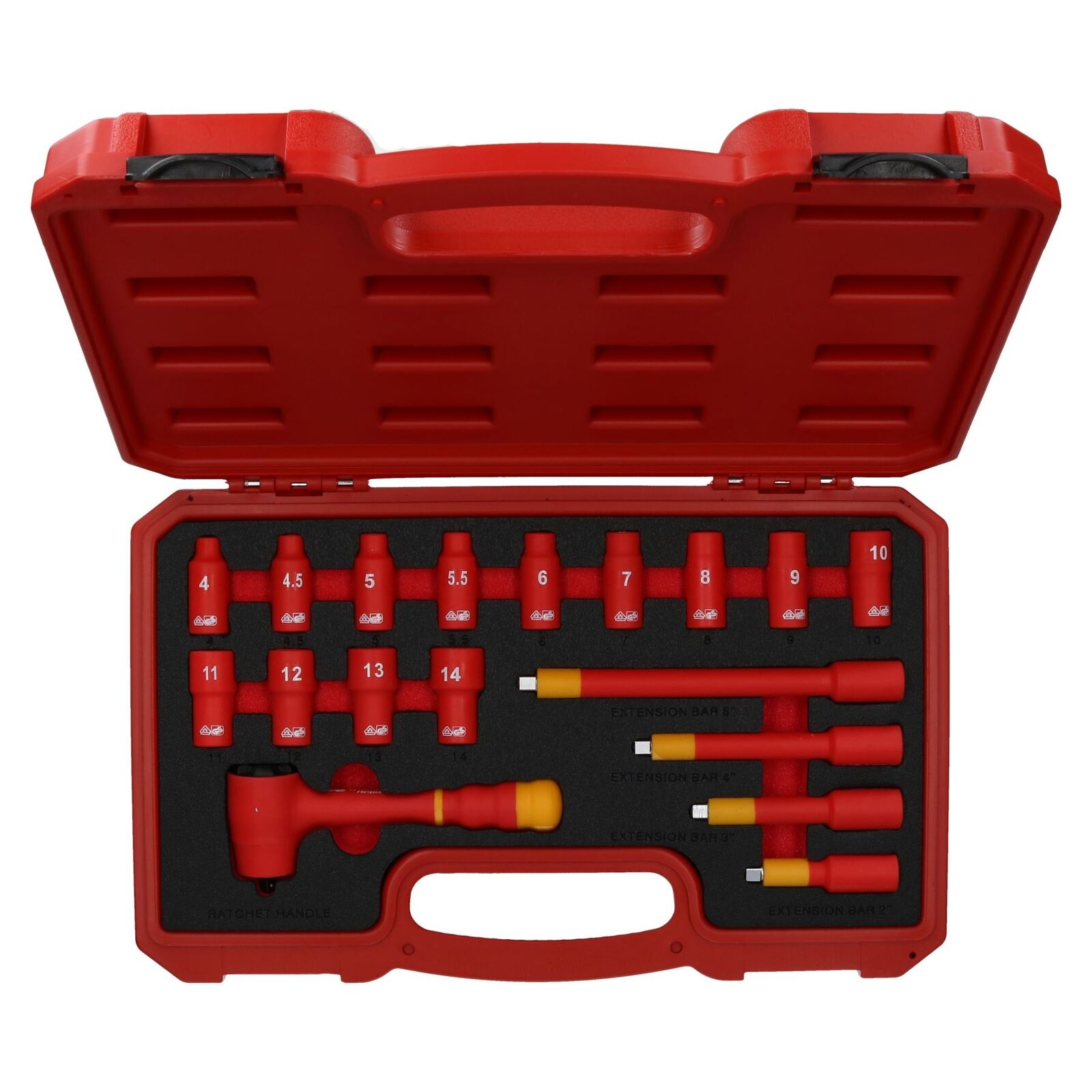 1 4  Drive Insulated VDE Tool Socket and Accessory Kit 18pc Metric GS Approved