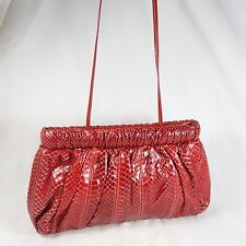 bags by VARON Red Snakeskin Shoulder Strap Fa-cile SNAP Clutch