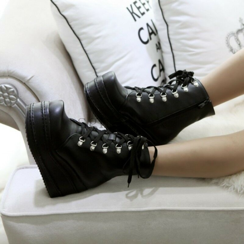 Ladies Punk Rock Style nEW Lace Up High Platform Ankle Boots shoes ALL UK Sz 50