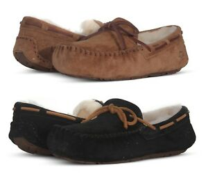 Ugg-Boots-Australia-Dakota-Slippers-Women-039-s-Slip-On-5612-Suede-Black-Chestnut