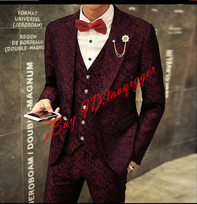 Slim Fit Mens Suit in Bordeaux-Tuxedo Suit-Wedding-Stage-Jacket