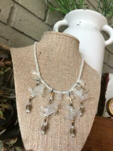 Vintage-Camphor-Glass-Frosted-Bib-Necklace-Unique-Jewelry-Bohemian-Czech-Glass
