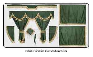 Truck Curtains Renault Green Full Set Of Lined Curtains Classic