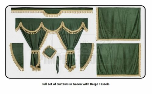 TRUCK CURTAINS VOLVO Green Full set of lined curtains classic tassels