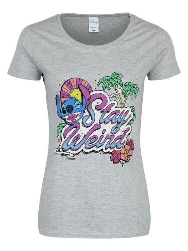 Lilo /& Stitch T-shirt Stay Weird Heather Women/'s Grey