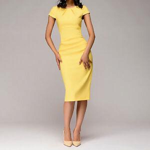 Women-039-s-Ladies-Summer-O-Neck-Short-Sleeve-Sheath-Dress-Solid-Knee-Length-Dresses