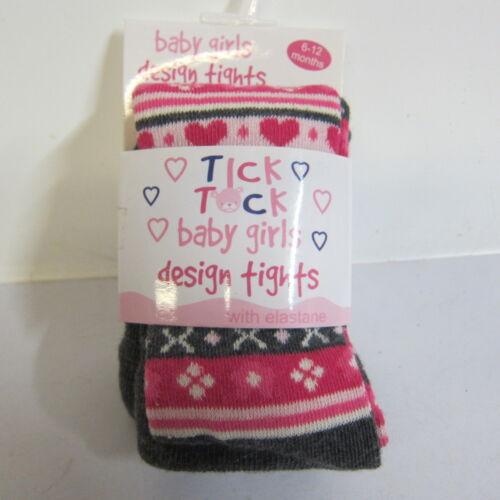 Baby Girls Tick Tock Cotton Rich Knit Tights Grey//pink 45B055