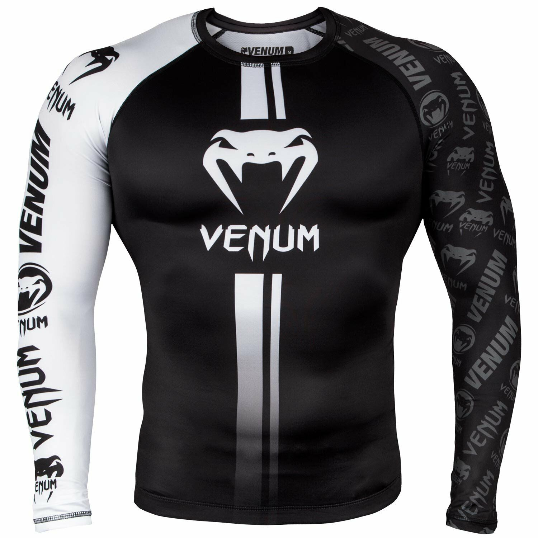 Venum Logos MMA Rash Guard BJJ Rashguard Long Sleeve Compression Top