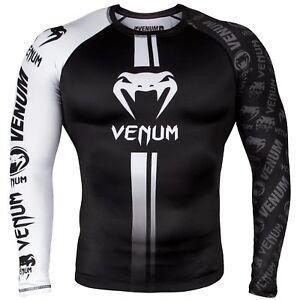 Details about Venum Logos MMA Rash Guard BJJ Rashguard Long Sleeve  Compression Top