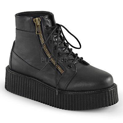Demonia 10-Eye Vegan Black Bolt Mid-Calf Boots Goth Punk Concert 10 11 12 13 14