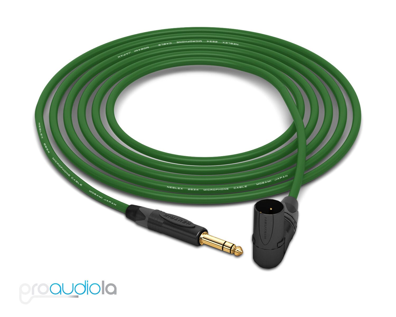 Cable de de de cuatro Mogami 2534   Neutrik TRS a 90 o Xlr oro-Macho   verde 35 pies 35 pies. c1891c