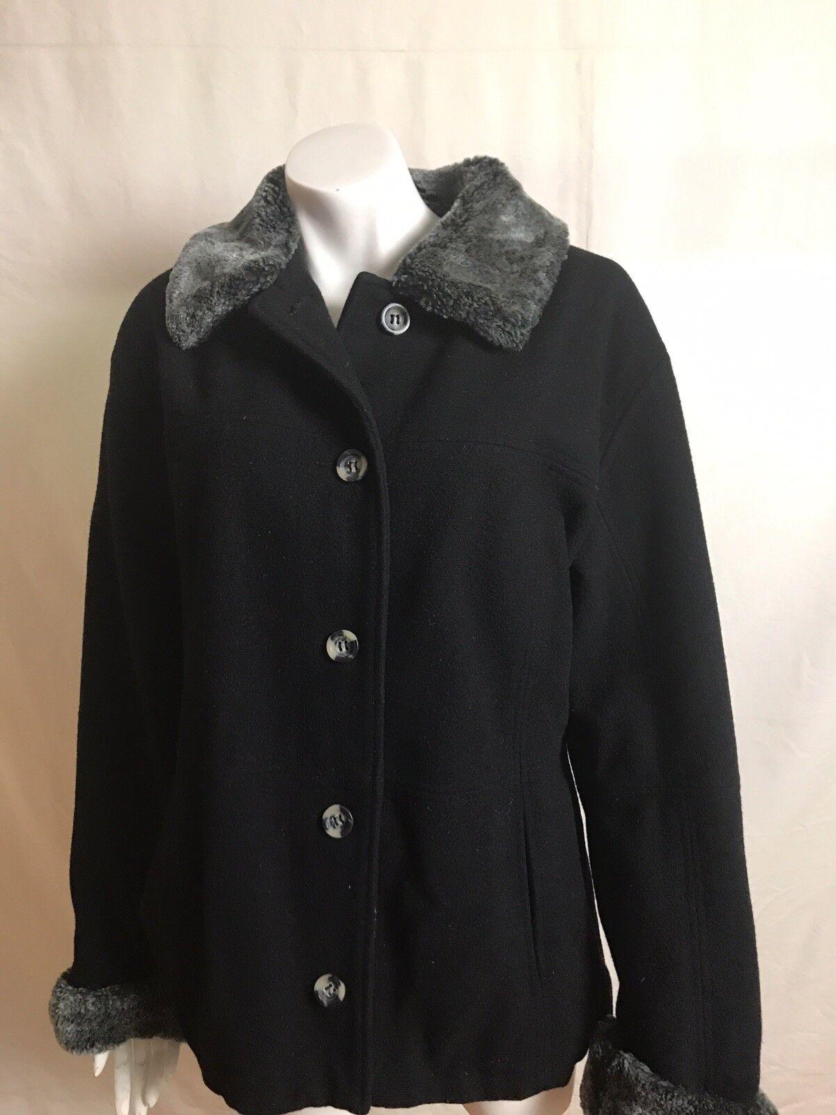 Braetan Women's Coat Size Large Jacket 90% Wool Black Gray button Up Pockets EUC