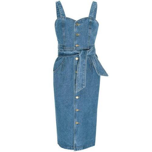 Fashion Women/'s Spring Denim Suspender Slim Fit Belt Backless Long Dress Summer