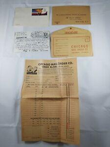 Vintage-Mailing-Items-Lot-2-Envelopes-1940s-2-Post-Cards-1984-Retail-Order-Form