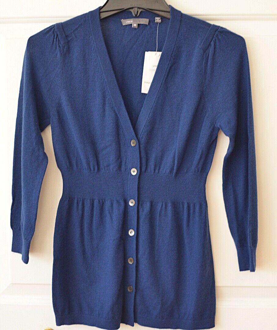 NWT Vince damen XS Cashmere Cardigan Sweater Blau 3 4 Sleeve  245