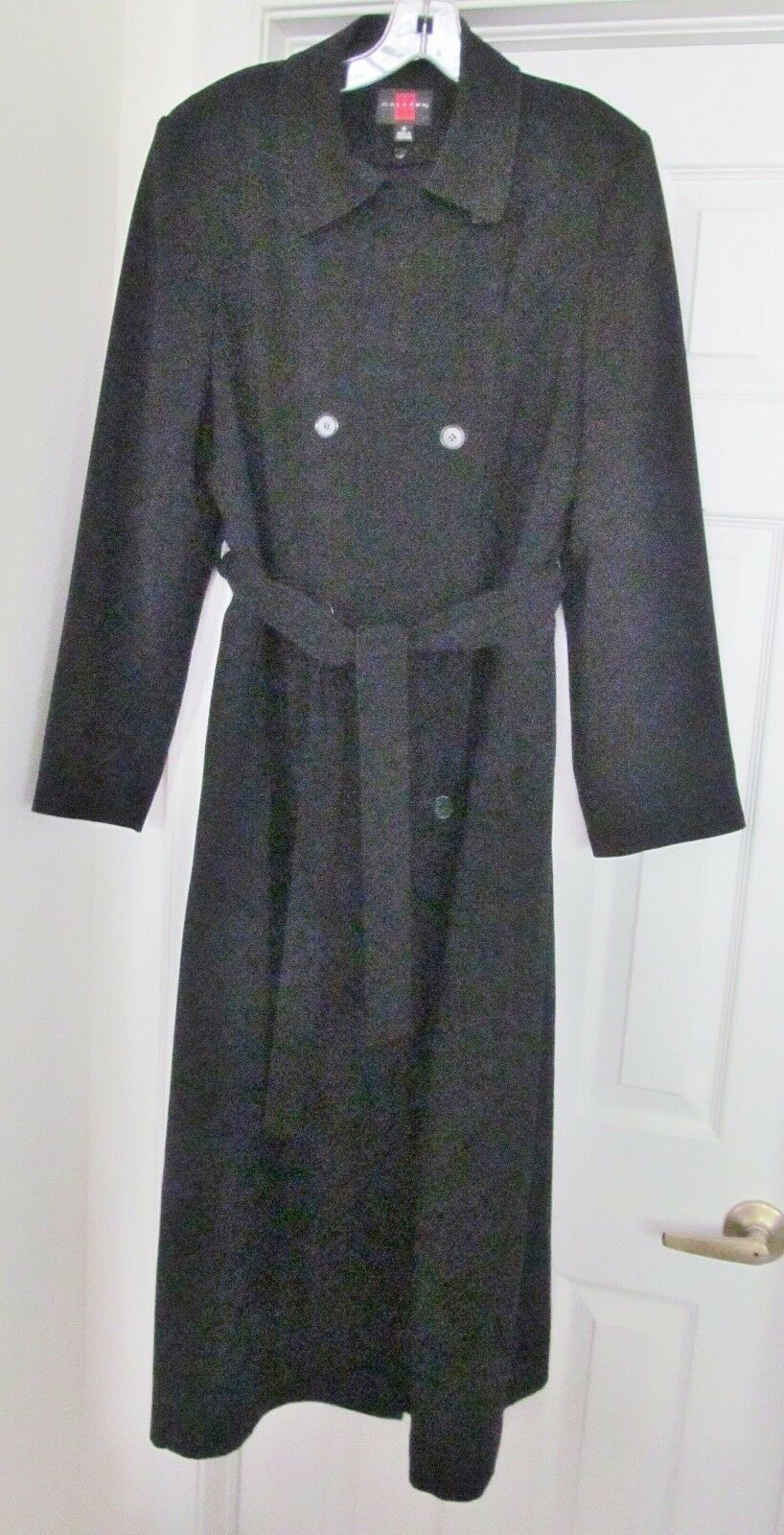 GALLERY Women's Long Coat Zip Out Lined Double Breasted Military Size 8