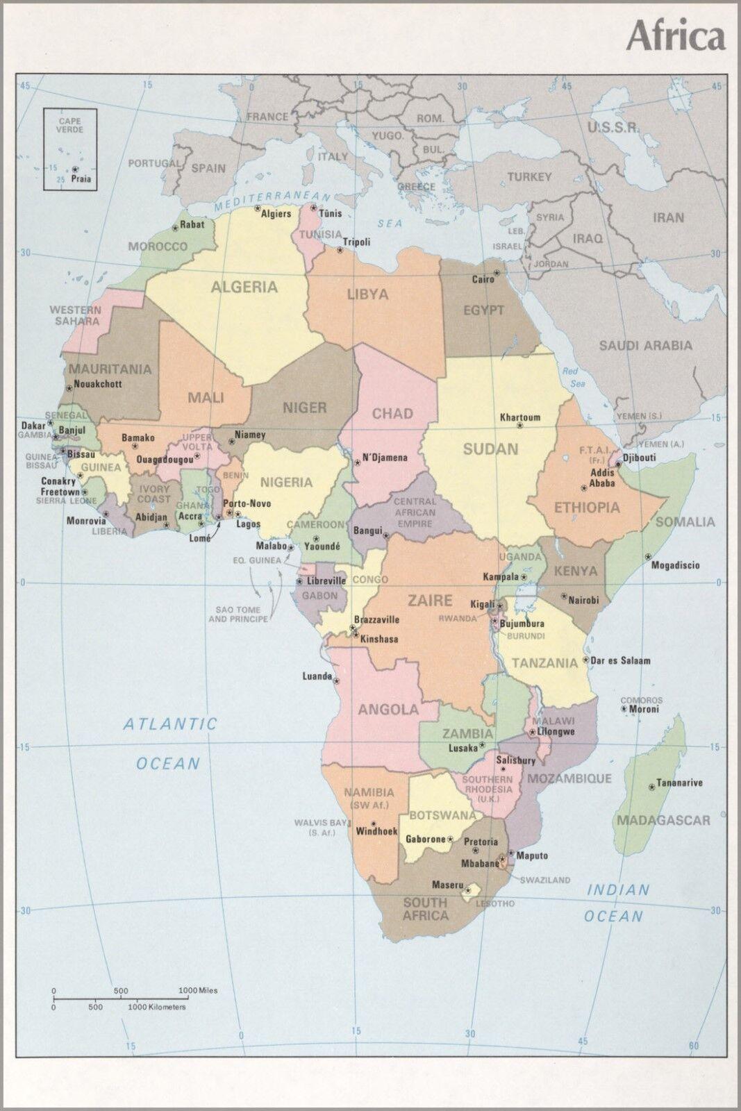 Poster, Molte Misure; Cia Mappa di Africa