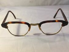 Vintage Horn Rim Eyeglasses Brown Tortoise Shell & Gold Filled Glasses Frames