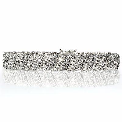 1.00ct TDW Diamond Wave Link Tennis Bracelet in Brass