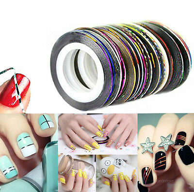 30 Pcs Mixed Colors Rolls Striping Tape Line Nail Art Tips Decoration Sticker GU