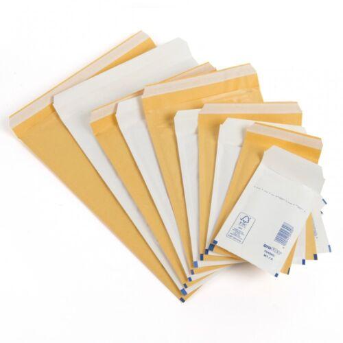 Oro o blanco acolchada de burbuja Sobres media lite de correo Bolsas E//2 Jl2 220 X 265