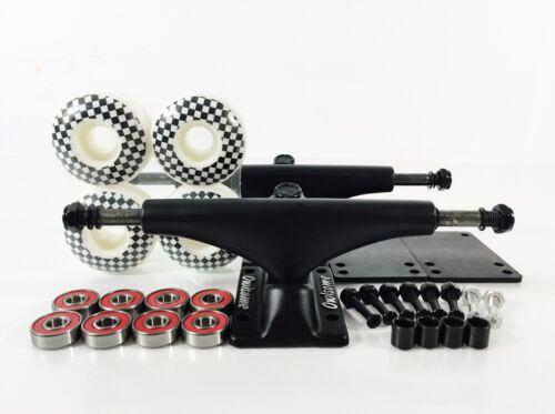 Owlsome 5.25 Black Skateboard Trucks w// 52mm Graphic Wheels ABEC 7 Bearings Set