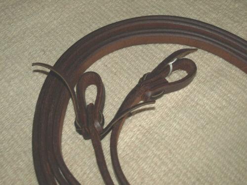 Harness leather 3//4 x 8 split reins  tie loop ends oiled Custom Cowboy USA H348