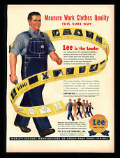 ORIGINAL 1948 LEE JEANS WORK CLOTHES OVERALLS TAPE MEASURE STORYBOARD  PRINT AD
