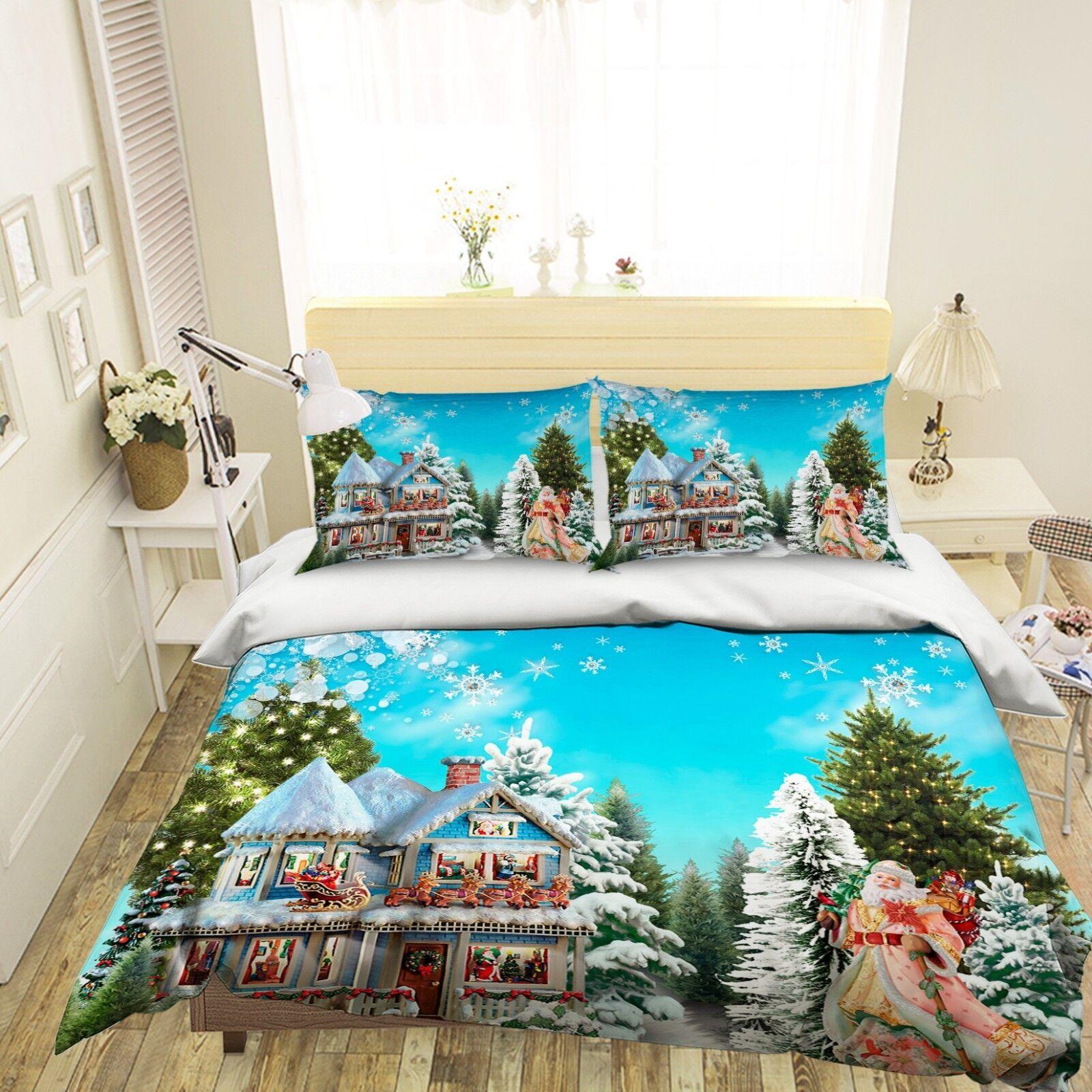 3D Christmas Xmas House 509 Bed Pillowcases Quilt Duvet Cover Set Single King UK