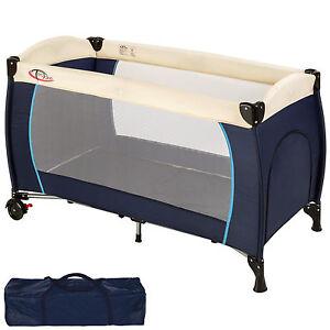 Cuna de viaje infantil acolchado parque de bebé portátil plegable azul