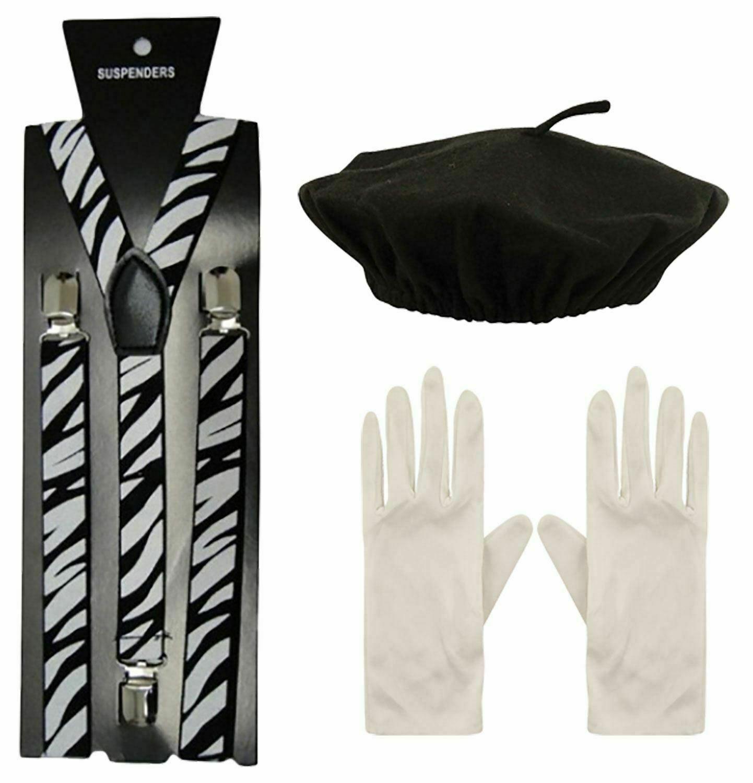 Mens Mime Artist Kit Beret Hat Sets Adults Braces White Gloves Fancy Accessory