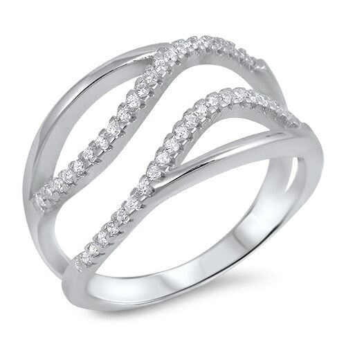 Sterling Silver 925 PRETTY PAVE FREEFORM CLEAR CZ DESIGN RING 13MM SIZES 5-10