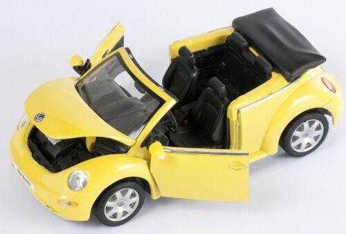 BLITZ VERSAND VW New Beetle Convertible gelb yellow 1:24 Welly Modell Auto NEU