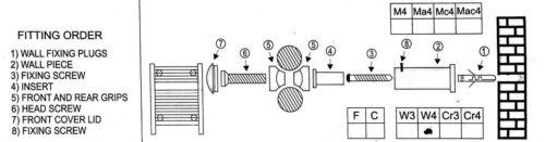 Brackets for Heated Towel Rail Radiators Flat Or Curved  Chrome Bracket in Rail