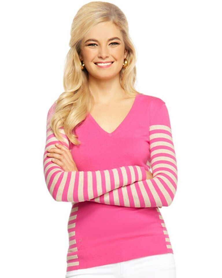 Lilly Pulitzer NWT Adelaide Sweater Capri Pink Good Reef Stripe