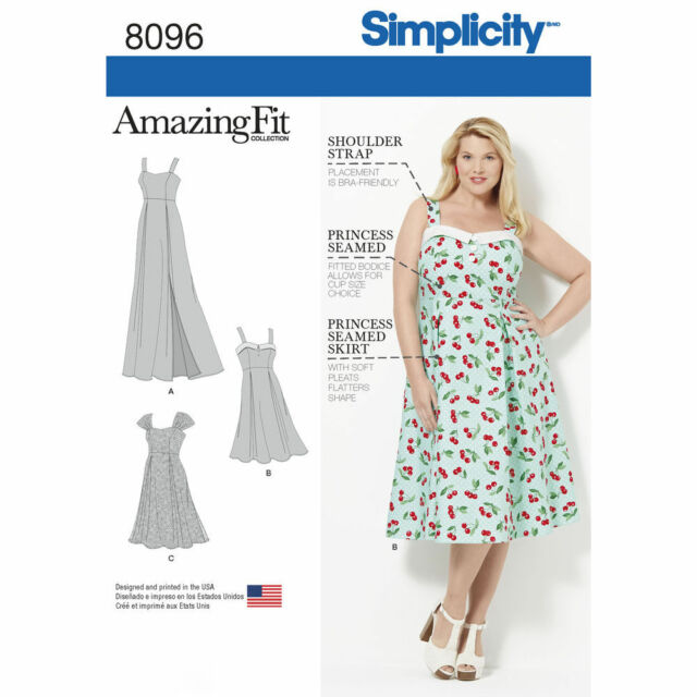 Fit Plus Size Dresses 50s Or Ball Gown Simplicity Sewing Pattern